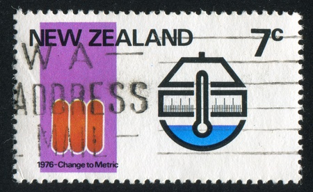 NEW ZEALAND - CIRCA 1976: stamp printed by New Zealand, shows Metric conversion, circa 1976 Stock Photo - 13092602