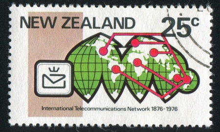 prevalence: NEW ZEALAND - CIRCA 1976: stamp printed by New Zealand, shows Telecommunications network on  equal area projection, century of link into international telecommunications network, circa 1976