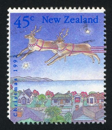NEW ZEALAND - CIRCA 1992: stamp printed by New Zealand, shows Christmas, Two reindeer over village, circa 1992 photo