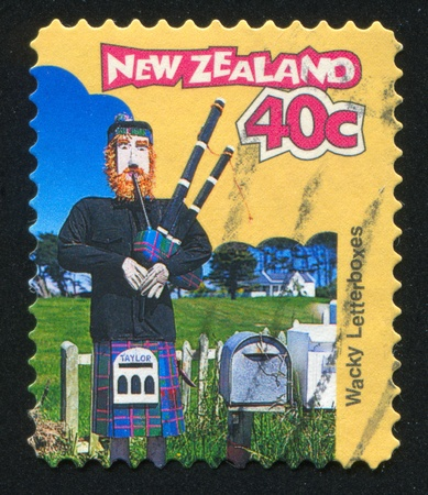NEW ZEALAND - CIRCA 1997: stamp printed by New Zealand, shows Letterbox Scottish Piper, circa 1997