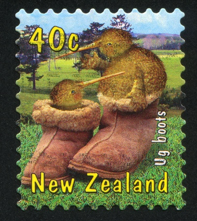 NEW ZEALAND - CIRCA 2000: stamp printed by New Zealand, shows Kiwi in Ug Boots, circa 2000 photo