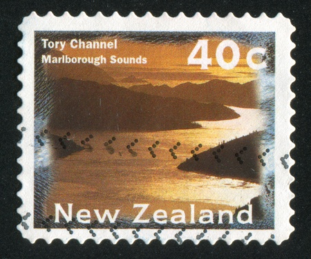 NEW ZEALAND - CIRCA 1996: stamp printed by New Zealand, shows Tory Channel, a part of Marlborough Sounds, circa 1996 photo