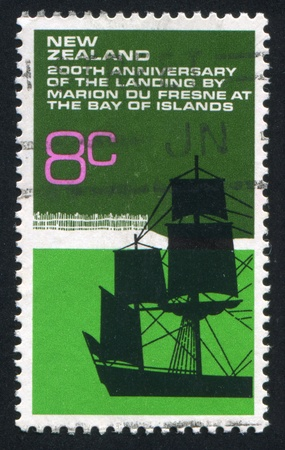 frigate: NEW ZEALAND - CIRCA 1972: stamp printed by New Zealand, shows French Frigate, circa 1972