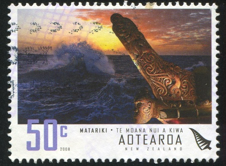 NEW ZEALAND - CIRCA 2008: stamp printed by New Zealand, shows Storming Sea and Maori Boat, circa 2008