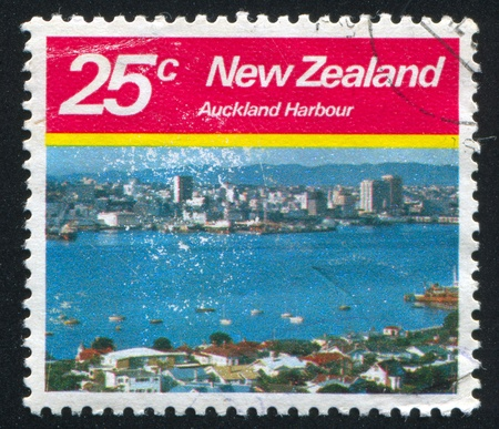 NEW ZEALAND - CIRCA 1980: stamp printed by New Zealand, shows Auckland Harbour, circa 1980 photo