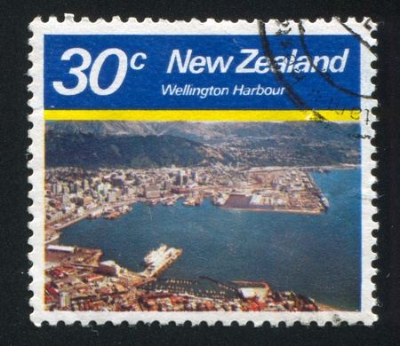 NEW ZEALAND - CIRCA 1980: stamp printed by New Zealand, shows Wellington Harbour, circa 1980 photo