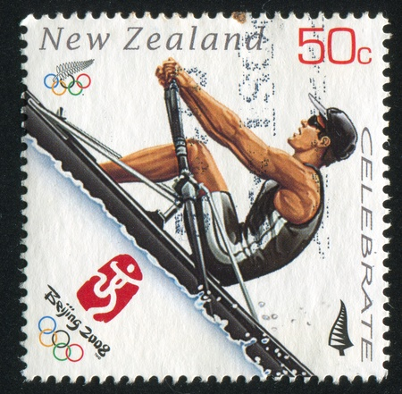 rower: NEW ZEALAND - CIRCA 2008: stamp printed by New Zealand, shows Rower at Sommer Olympics in Beijing, circa 2008