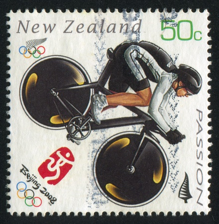 NEW ZEALAND - CIRCA 2008: stamp printed by New Zealand, shows Cyclist at Summer Olympics in Beijing, circa 2008 Stock Photo - 13095663
