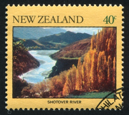 NEW ZEALAND - CIRCA 1981: stamp printed by New Zealand, shows  river Shotover, circa 1981 photo