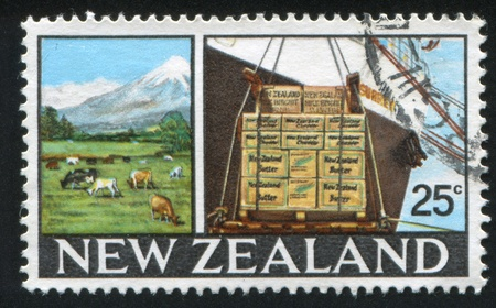 NEW ZEALAND - CIRCA 1968: stamp printed by New Zealand, shows dairy farm, dairy product in box, circa 1968 photo
