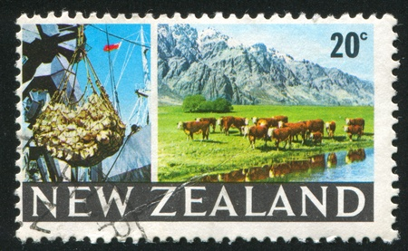 cattle grid: NEW ZEALAND - CIRCA 1968: stamp printed by New Zealand, shows cargo hoist, grazing cattle,  circa 1968 Stock Photo