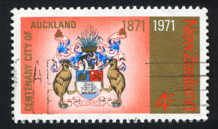 NEW ZEALAND - CIRCA 1971: stamp printed by New Zealand, shows  coat of arms of Auckland, circa 1971 photo