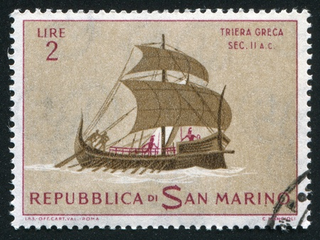 SAN MARINO - CIRCA 1963: stamp printed by San Marino, shows Ancient Ship, circa 1963 photo
