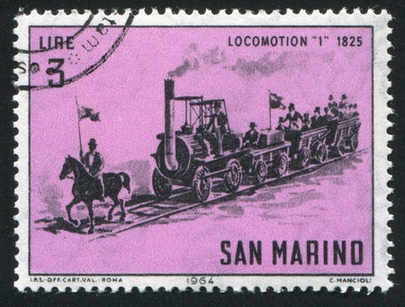 SAN MARINO - CIRCA 1964: stamp printed by San Marino, shows Locomotive, circa 1964 photo