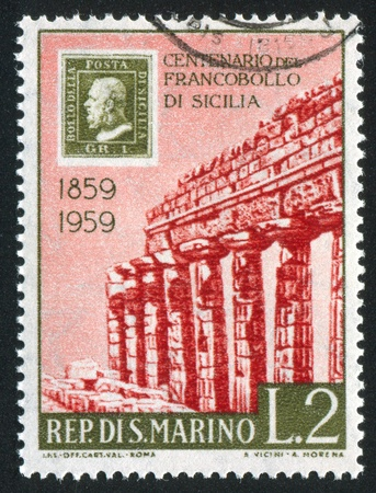 SAN MARINO - CIRCA 1959: stamp printed by San Marino, shows Greek temple, circa 1959