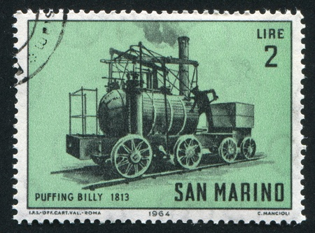 SAN MARINO - CIRCA 1964: stamp printed by San Marino, shows Locomotive, Puffing Billy, circa 1964 Stock Photo - 13099045