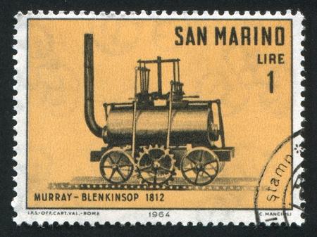 SAN MARINO - CIRCA 1964: stamp printed by San Marino, shows Murray-Blenkinsop Locomotive, circa 1964 photo