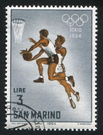 SAN MARINO - CIRCA 1964: stamp printed by San Marino, shows Basketball, circa 1964
