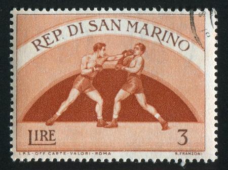 SAN MARINO - CIRCA 1954: stamp printed by San Marino, shows Boxing, circa 1954 Stock Photo - 13095969