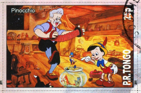 TONGO - CIRCA 2011: stamp printed by Tongo, shows Walt Disney cartoon character, Pinocchio, circa 2011