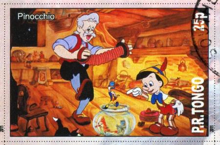 TONGO - CIRCA 2011: stamp printed by Tongo, shows Walt Disney cartoon character, Pinocchio, circa 2011