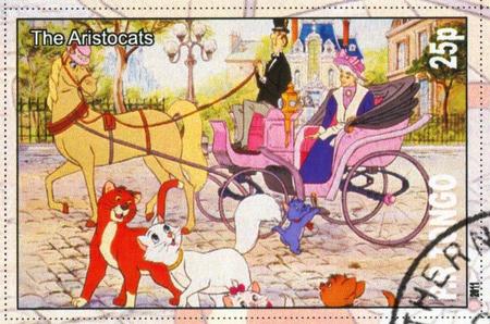 TONGO - CIRCA 2011: stamp printed by Tongo, shows Walt Disney cartoon character, The Aristocats, circa 2011