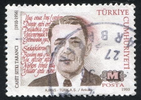 TURKEY- CIRCA 1993: stamp printed by Turkey, shows Cahit Sitki Taranci, poet, circa 1993