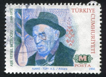 TURKEY- CIRCA 1992: stamp printed by Turkey, shows Asik Veysel Satiroglu, composer, circa 1992