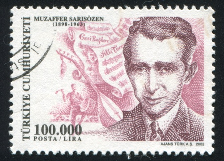 TURKEY- CIRCA 2002: stamp printed by Turkey, shows Muzaffer Sarisozen, musician, circa 2002