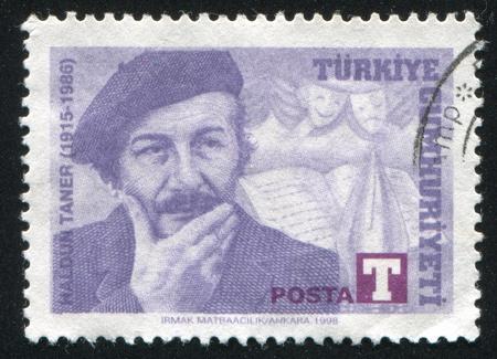 TURKEY- CIRCA 1998: stamp printed by Turkey, shows Haldun Taner, short story writer, circa 1998