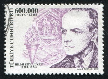 TURKEY- CIRCA 2002: stamp printed by Turkey, shows Hilmi Ziya Ulken, philosopher, circa 2002