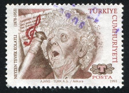 TURKEY- CIRCA 1993: stamp printed by Turkey, shows Neyzen Tevfik Kolayli, poet, circa 1993