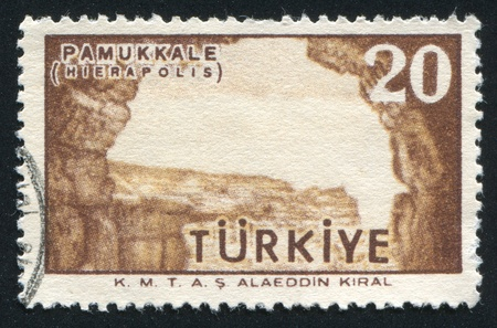TURKEY- CIRCA 1958: stamp printed by Turkey, shows Ruins at Pamukkale, circa 1958 photo