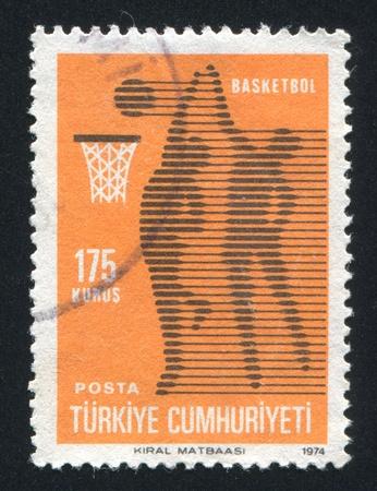 TURKEY- CIRCA 1974: stamp printed by Turkey, shows basketball, circa 1974 photo