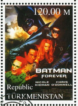 batman: TURKMENISTAN - CIRCA 2000: stamp printed by Turkmenistan, shows Batman forever, circa 2000