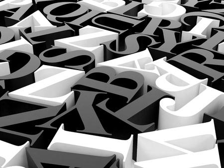High resolution image. 3d rendered illustration. Background of alphabets. Stock Illustration - 13114280