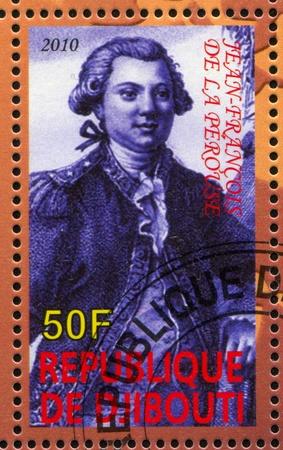 mariner: DJIBOUTI - CIRCA 2010: stamp printed by Djibouti, shows explorer, Jean-Francois de La Perouse, circa 2010 Editorial
