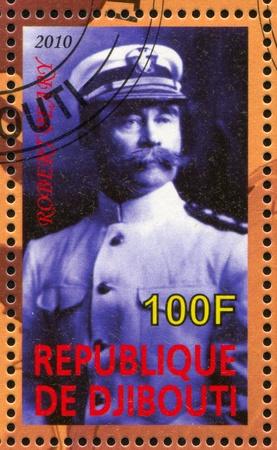 mariner: DJIBOUTI - CIRCA 2010: stamp printed by Djibouti, shows explorer, Robert Edwin Peary, circa 2010