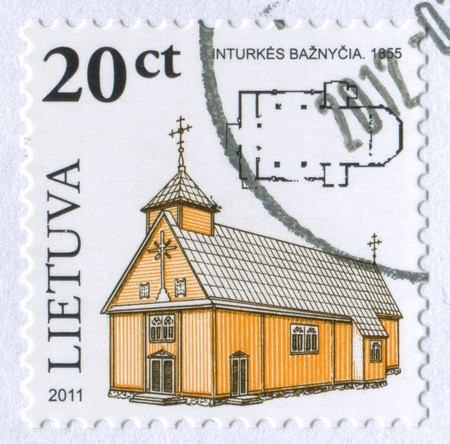 LITHUANIA - CIRCA 2011: stamp printed by Lithuania, shows church, circa 2011