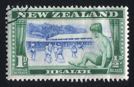 NEW ZEALAND - CIRCA 1948: stamp printed by New Zealand, shows Children health camps, circa 1948
