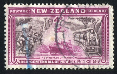NEW ZEALAND - CIRCA 1940: stamp printed by New Zealand, shows Progress of Transport, circa 1940
