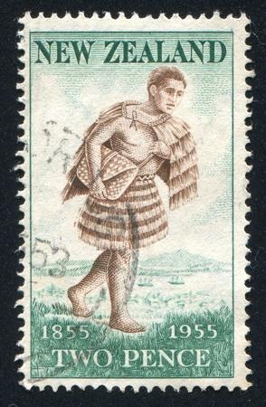 NEW ZEALAND - CIRCA 1955: stamp printed by New Zealand, shows Maori Mailman, circa 1955 Stock Photo - 13117869
