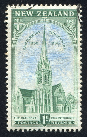 NEW ZEALAND - CIRCA 1950: stamp printed by New Zealand, shows Cathedral at Christchurch, circa 1950