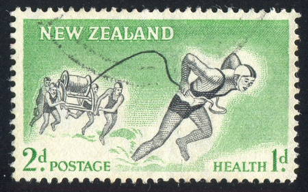 NEW ZEALAND - CIRCA 1957: stamp printed by New Zealand, shows Life-Saving Team, circa 1957