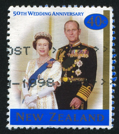 NEW ZEALAND - CIRCA 1997: stamp printed by New Zealand, shows Queen Elizabeth II and Prince Philip, circa 1997