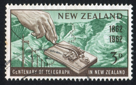 telegraph hill: NEW ZEALAND - CIRCA 1962: stamp printed by New Zealand, shows Morse Key and Port Hills, Lyttelton, circa 1962 Editorial
