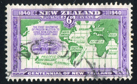 NEW ZEALAND - CIRCA 1940: stamp printed by New Zealand, shows Route of Ship Carrying First Shipment of Frozen Mutton to England, circa 1940