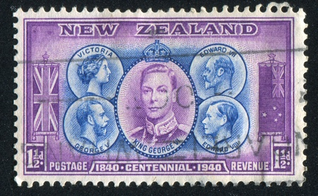family constellation: NEW ZEALAND - CIRCA 1940: stamp printed by New Zealand, shows Victoria, Edward VII, George V, Edward VIII and George VI, circa 1940 Editorial