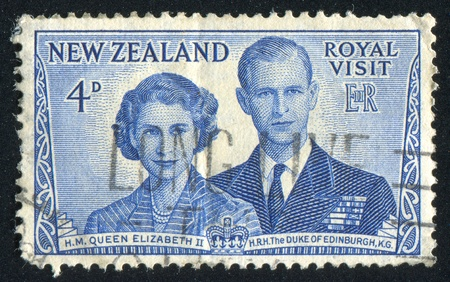 NEW ZEALAND - CIRCA 1953: stamp printed by New Zealand, shows Queen Elizabeth II and Duke of Edinburgh, circa 1953