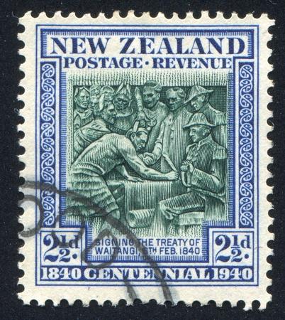 colonizer: NEW ZEALAND - CIRCA 1940: stamp printed by New Zealand, shows Treaty of Waitangi, 1840, circa 1940 Editorial